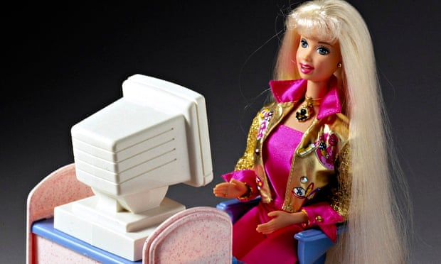 Barbie at a computer