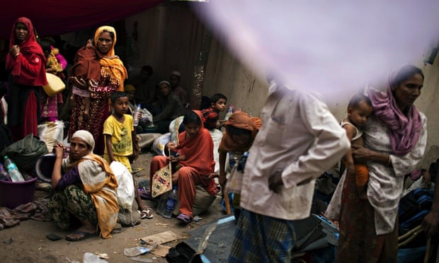 Burmese refugees from the Rohingya community in 2012 taking refuge on a street near the United Natio