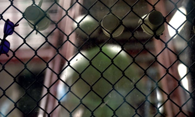 This April 8, 2014 file photo reviewed by the US military shows a detainee at the US Naval Station in Guantanamo Bay, Cuba.