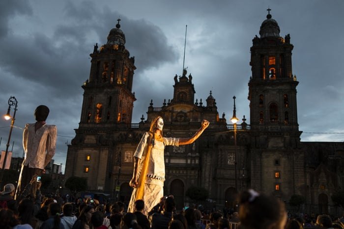 Twilight celebrations in the main square of Mexico City.