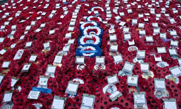 Poppy wreaths at the Cenotaph.  Photograph: Terry Scott/Demotix/Corbis
