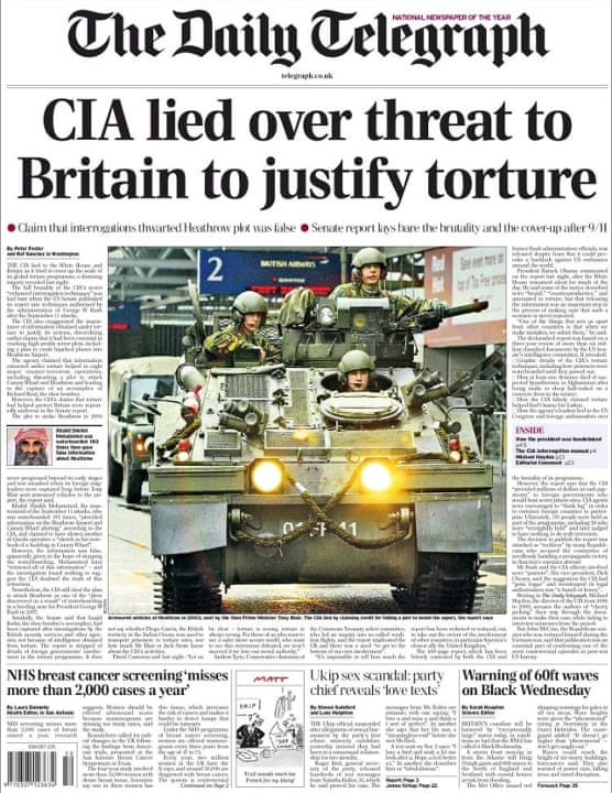 Telegraph Front Page - CIA lied over threat to Britain to justify torture