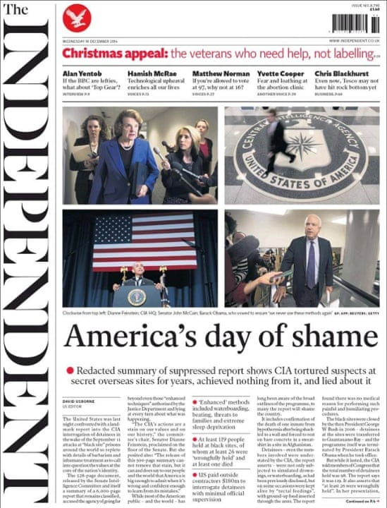Independent Front Page - America's day of shame