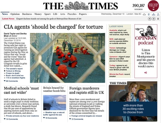 The Times - Website front page on CIA story