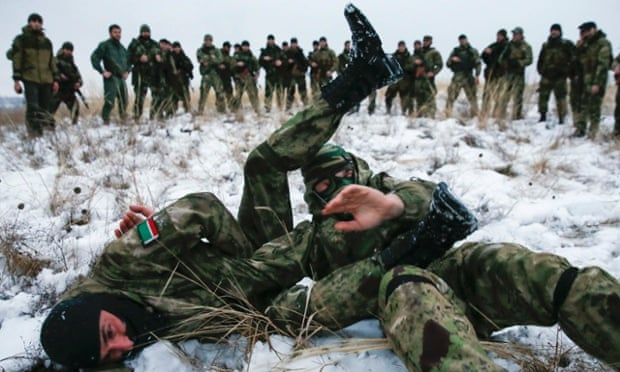 Pro-Russian separatists take part in a training exercise in the territory controlled by the self-proclaimed Donetsk People's Republic in eastern Ukraine last week. Former Soviet countries have watched events in Ukraine with concern.