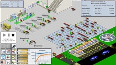 The interface of Simudyne's City Hospital EvacSim.