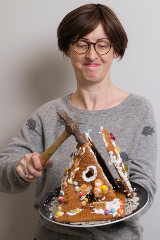Gently does it … Having spent hours lovingly assembling her homemade gingerbread house, Emma finds a cake knife just won't cut it.