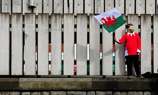 A young rugby fan waves a Welsh flag