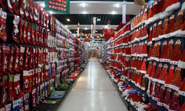 A Christmas corridor in District Two of Yiwu International Trade Market.