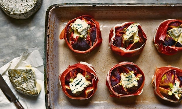 Baked Figs with parma ham  and Burt's Blue  Cheese