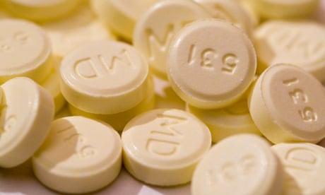 Close-up of methylphenidate (Ritalin) tablets.