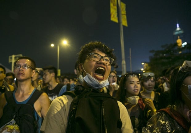 Pro-democracy supporters occupy the streets surrounding Hong Kong's financial district, October 2014.
