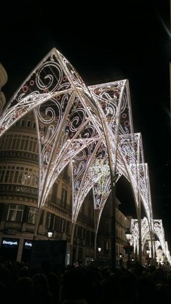 Calle Marqués de Larios is the main shopping street in Málaga, Spain.