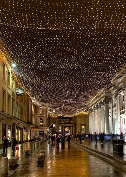 Beautiful Christmas lighting above the streets of Glasgow, Scotland.