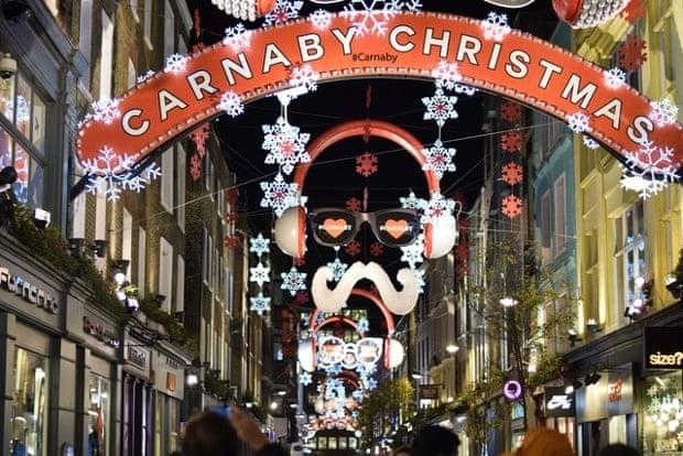 Christmas lights at Carnaby Street, London.