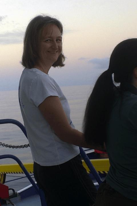 Rebecca Cowley, at sea.
