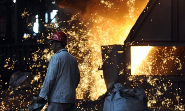 Workers at a steel mill in Hefei, in eastern China's Anhui province.