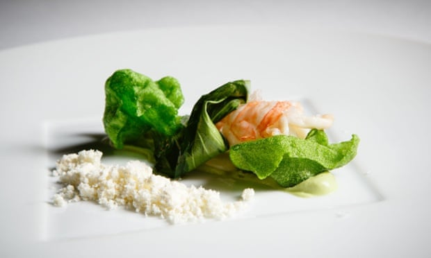Prawn with seaweed bread at two-Michelin star Atrio in Caceres.
