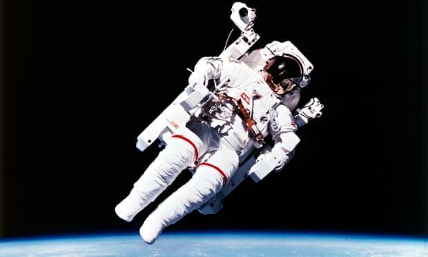 US astronaut Bruce McCandless spacewalking, 1984.