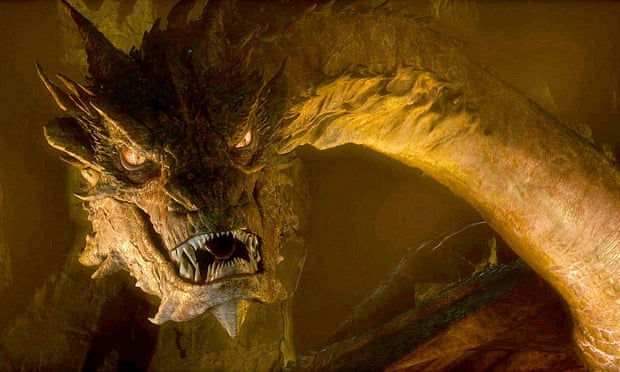 American menace ... Smaug, as performed by Benedict Cumberbatch in The Hobbit: The Desolation of Smaug. Photograph: Warner Bros