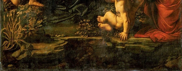 Detail of plants in Madonna of the Rocks, Louvre version.
