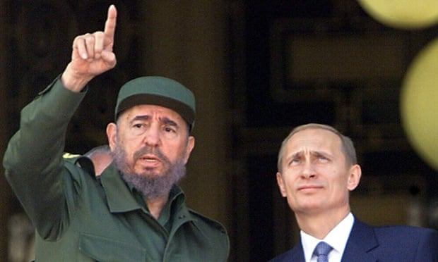 Revolutionary leader Fidel Castro (L) with Russia's President Vladimir Putin in 2000 in Havana. Putin is due to arrive in Cuba of Friday for his latest visit. Photograph: Adalberto Roque/EPA