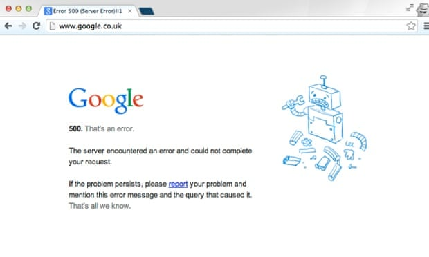 Google down as search services suffer intermittent outage ...