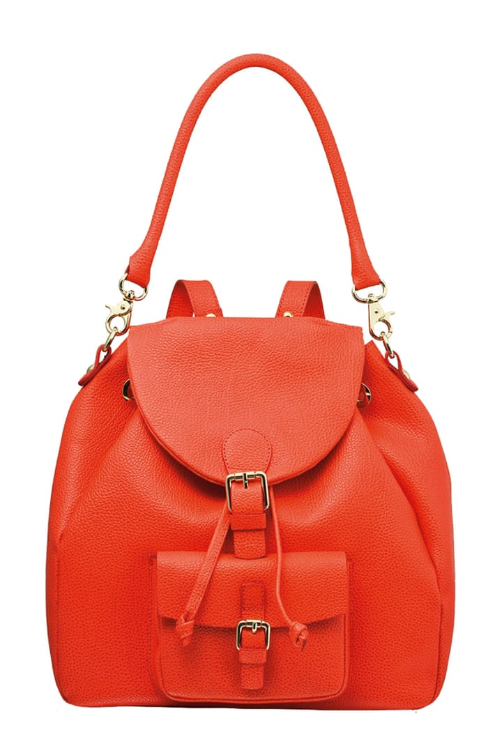 red leather back pack