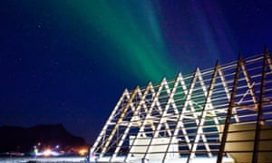 The northern lights glow in the sky over the SALT festival site during the opening weekend. Even the locals were surprised to see such a strong display so early in the year.