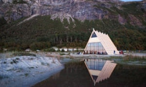 """The """"amphisauna"""" at SALT festival is tipped to be the world's largest. Capable of seating around 120 people the sauna has a bar at the back and fills up in the evening with those escaping the Arctic chill"""