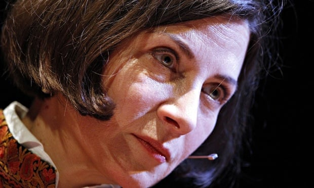 Close-up of Donna Tartt, with her dark bobbed hair