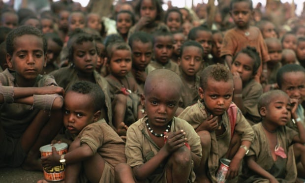 Ethiopian children in a refugee camp during the famine