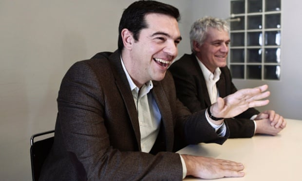Syriza leader Alexis Tsipras, left, has a poll lead of up to 4% with a fortnight to go until the election.