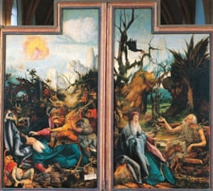 The Temptations of Saint Anthony and the Conversation between Saint Anthony and Saint Paul the Hermit, from the Isenheim Altarpiece, by Mathias Grunewald (1475-1528), oil on panel.