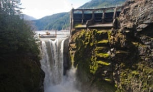 Elwha River Restoration, Glines Canyon Dam removal, Lake Mills reservoir being drawn down, March 16, 2012,