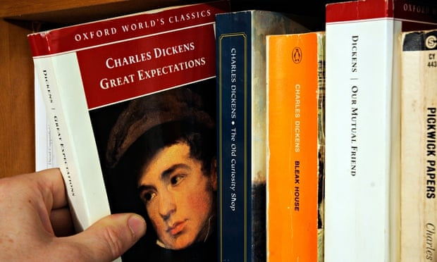 Choose or chuck? … A hand taking Charles Dickens's Great Expectations from a bookshelf. Photograph: CBW /Alamy