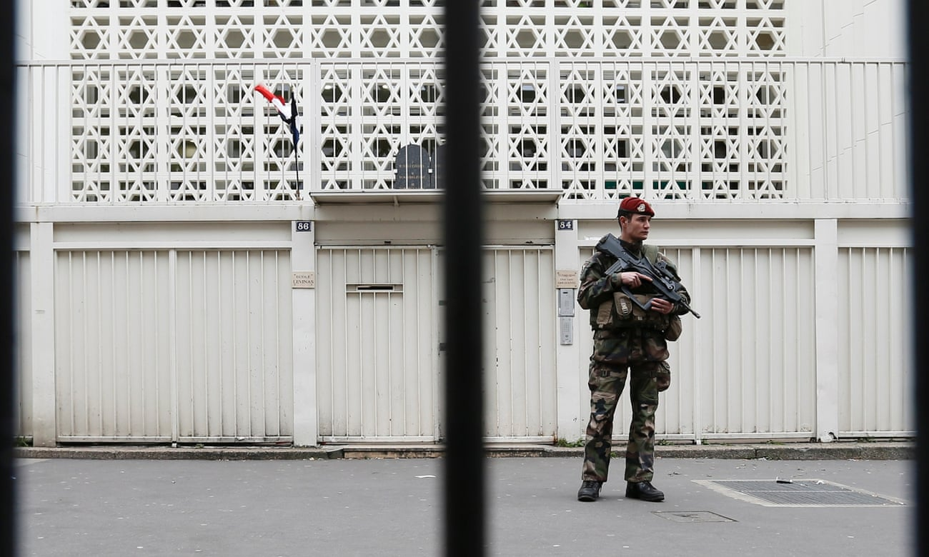 A Jewish school under guard in Paris.