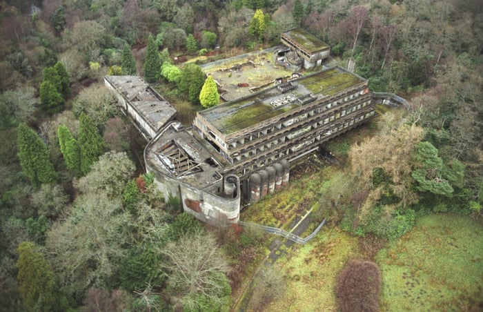 An aerial view of St Peter's Seminary, Cardross, Argyll and Bute. The site was abandoned in 1980. Photograph: Alamy