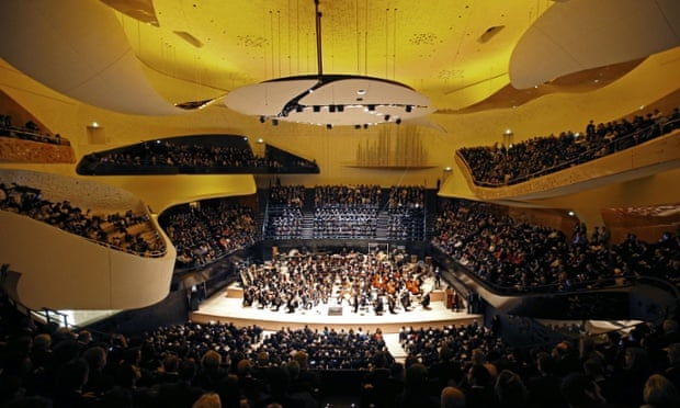 A general view of the new Paris Philharmonie concert hall in Paris, Wednesday, Jan. 14, 2015. The Philharmonie, a multi-level concert complex whose main hall seats 2,400 on sweeping balconies surrounding the centre stage, took eight years and 386 million euros ($455 million) of public money to build -- a budget three times its initial estimate.