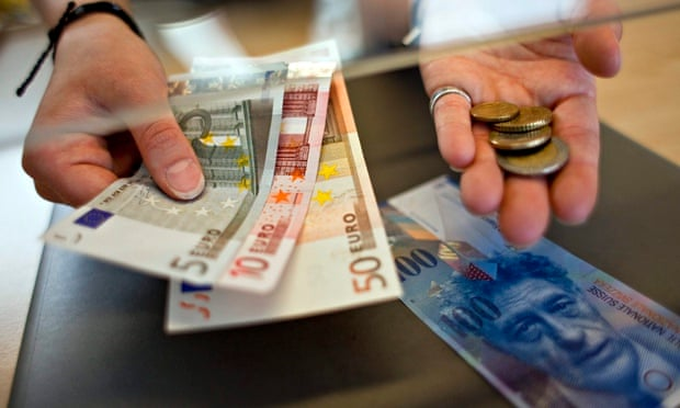 Changing Swiss francs into euros