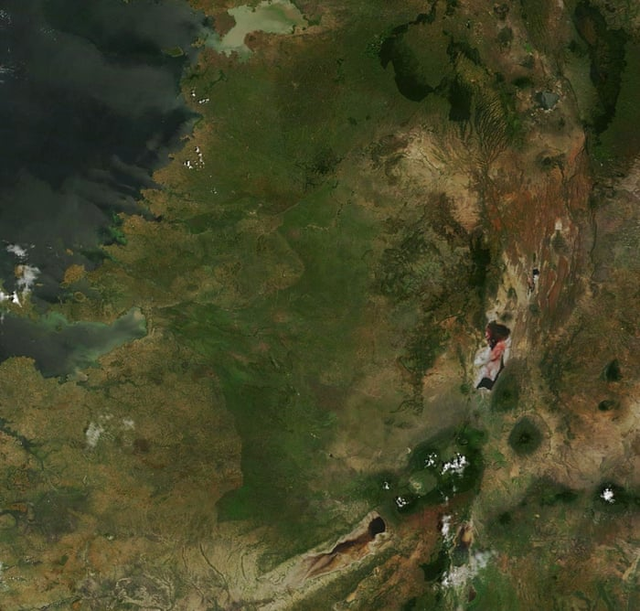 Satellite view of Serengeti National Park center and Ngorongoro Conservation Area on 2 January 2015, lower right seen with old volcanoes between lake Eyasi (botom middle right black and lake Natron right middle redish brown. On north is border between Tanzania and Kenya and north west is lake Victoriagalleryserengeti