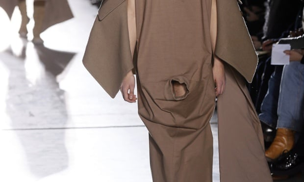 A model on the catwalk for Rick Owens - penis covered for modesty