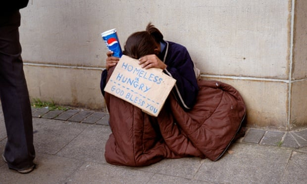 Young homeless woman