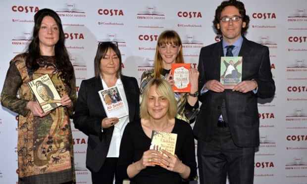 Helen Macdonald (left) poses with other Costa book award nominees, Ali Smith, Emma Healey, Jonathan Edwards and Kate Saunders.