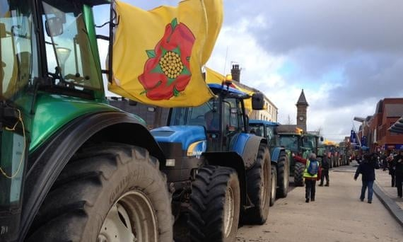 Tractors in a protest outside a Lancashire County Council planning meeting on fracking applications by Cuadrilla.
