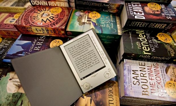 E-reader and books. When you include 'digital audio books, book apps and digital academic textbooks, and we see a sector broadening not wilting'. Photograph: Martin Argles for the Guardian