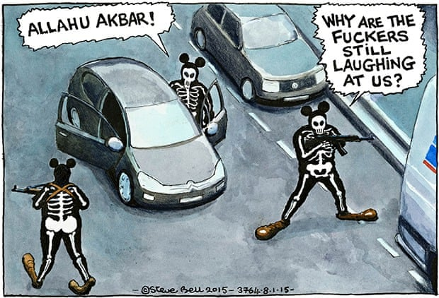 Steve Bell on the Charlie Hebdo attack ~ cartoon