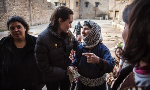 Angelina Jolie meets displaced Iraqis living in an abandoned school in al-Qosh last month.