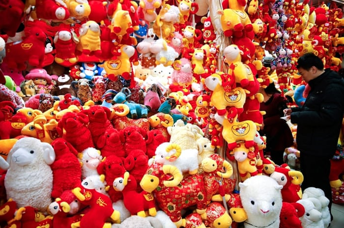 Decorations on sale for the upcoming Year of the Sheep celebrations