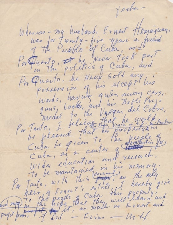 The letter from Mary Hemingway to to her husband Ernest's friend Roberto Herrera.